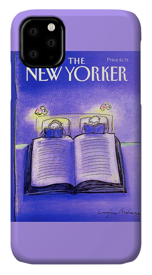 Married Couple IPhone 11 Case featuring the painting New Yorker December 3rd, 1990 by Eugene Mihaesco