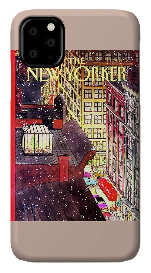 A Birds-eye View Of A Busy Shopping Evening Downtown. Snow Begins To Fall On The Rooftops Where One Sunroof Is Illuminated By A Crowd Gathered Around A Christmas Tree. IPhone Case featuring the painting New Yorker December 7th, 1992 by Roxie Munro