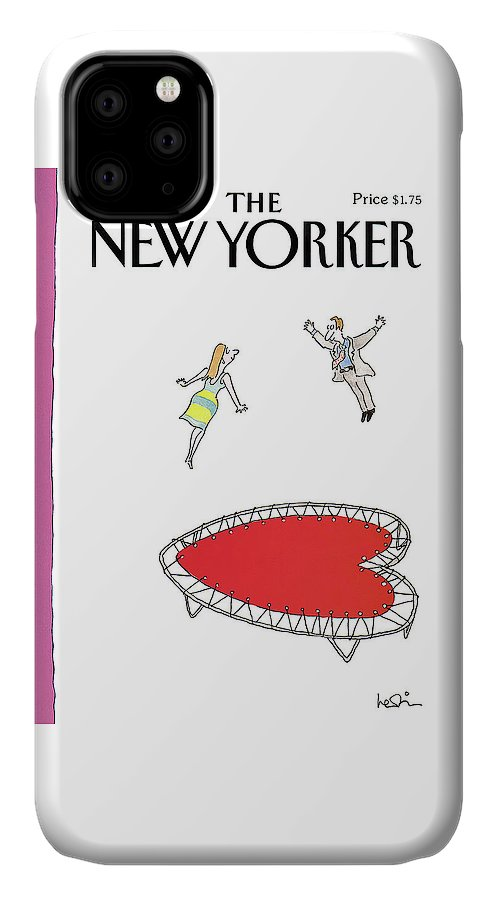 (a Man And A Woman Jump Towards Each Other On A Heart Shaped Trampoline.) Holidays IPhone Case featuring the painting New Yorker February 12th, 1990 by Arnie Levin