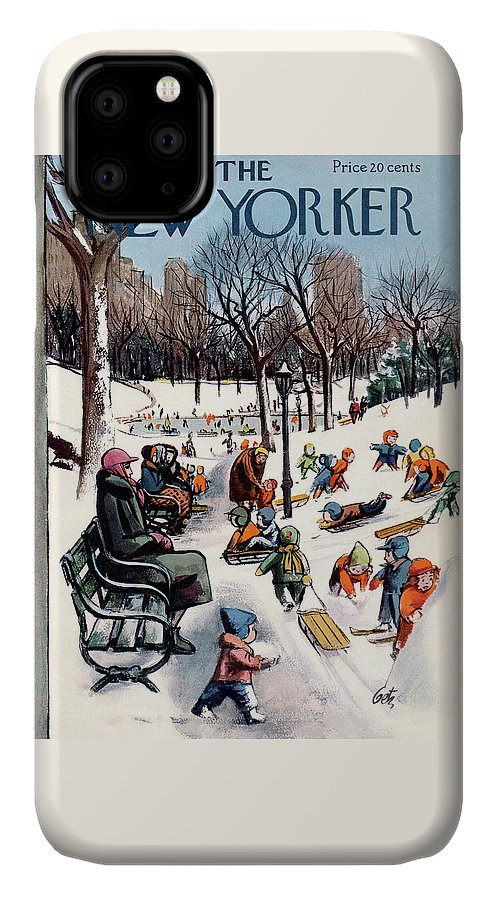 New York City IPhone Case featuring the painting New Yorker February 26th, 1955 by Arthur Getz