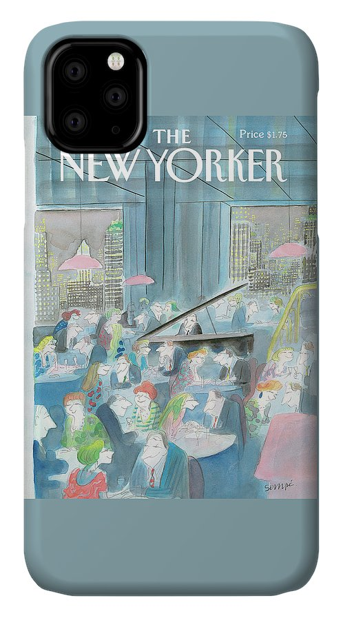 Restaurant IPhone 11 Case featuring the painting New Yorker January 15th, 1990 by Jean-Jacques Sempe