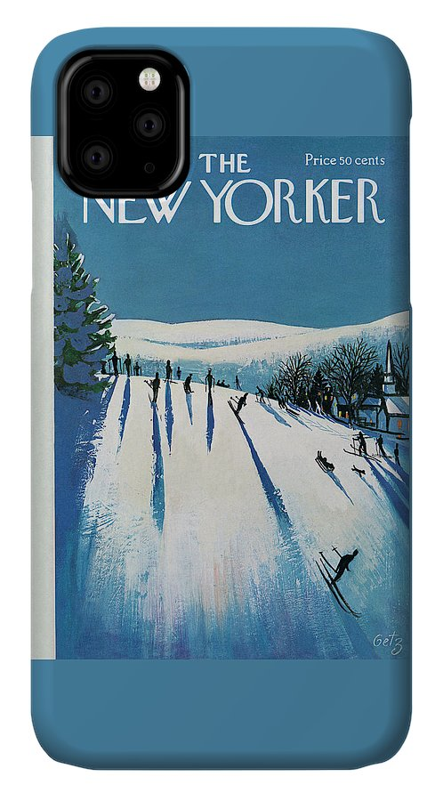 Snow IPhone Case featuring the painting New Yorker January 20th, 1973 by Arthur Getz