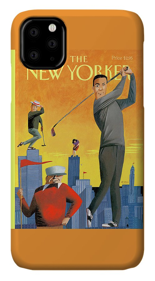 Tee Time IPhone Case featuring the painting New Yorker June 10th, 1996 by Mark Ulriksen