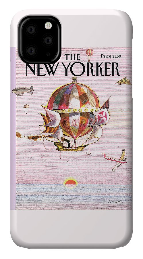 Sunset IPhone 11 Case featuring the painting New Yorker March 31st, 1986 by Andrej Czeczot