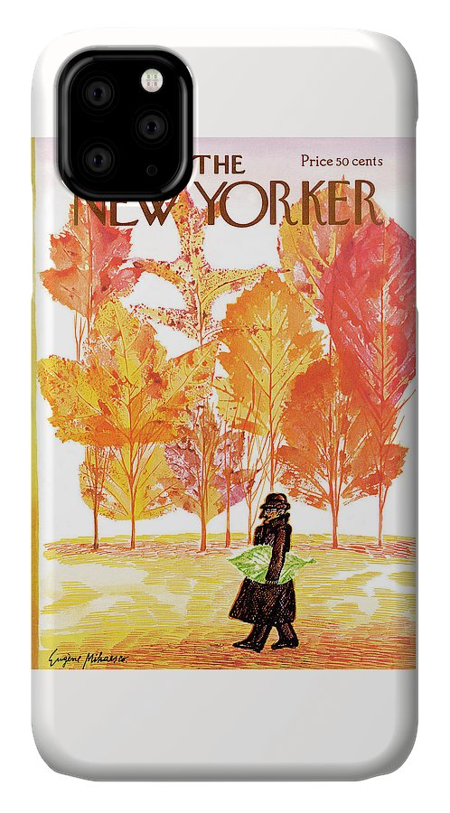 Eugene Mihaesco IPhone Case featuring the painting New Yorker October 14th, 1972 by Eugene Mihaesco