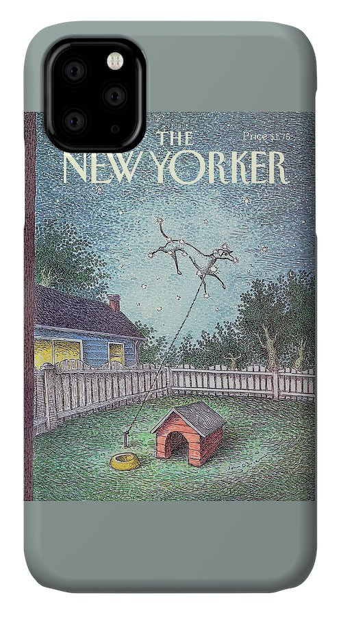 A Dog Constellation On A Leash Runs Around In The Twilight Sky Rather Than The Backyard Where It's House And Food Bowl Are. IPhone Case featuring the painting New Yorker October 21st, 1991 by John O'Brien