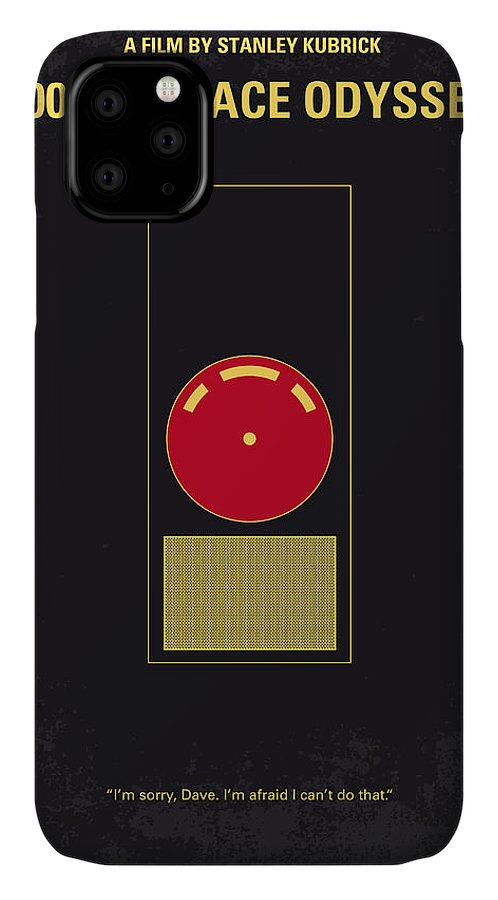 2001: A Space Odyssey IPhone Case featuring the digital art No003 My 2001 A space odyssey 2000 minimal movie poster by Chungkong Art