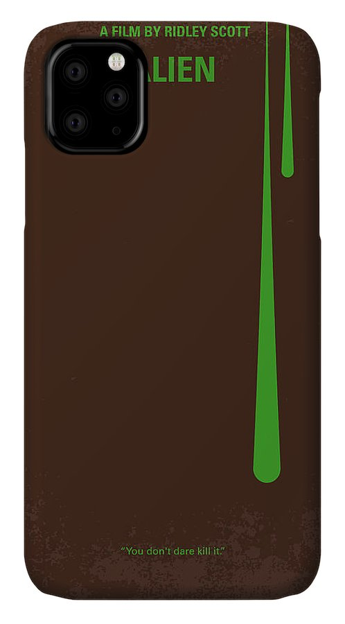 Alien IPhone 11 Case featuring the digital art No004 My Alien Minimal Movie Poster by Chungkong Art