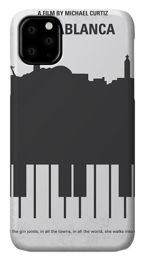 Casablanca IPhone Case featuring the digital art No192 My Casablanca minimal movie poster by Chungkong Art