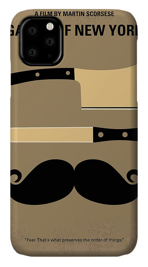 Gangs IPhone 11 Case featuring the digital art No195 My Gangs Of New York Minimal Movie Poster by Chungkong Art