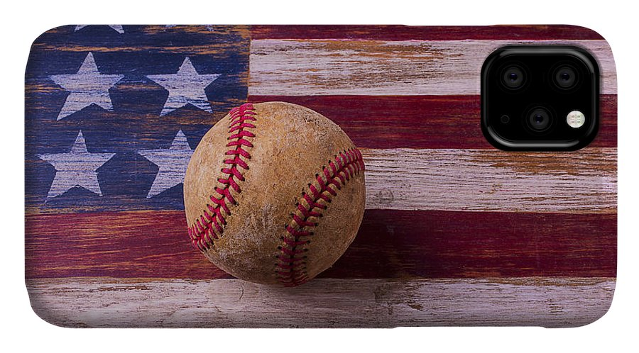 American IPhone Case featuring the photograph Old Baseball On American Flag by Garry Gay