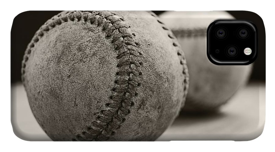 Ball; Sport; Baseball; Leather; Stitches; Red; White; Closeup; Used; Old; Vintage; Antique; Old Baseballs IPhone Case featuring the photograph Old Baseballs by Edward Fielding