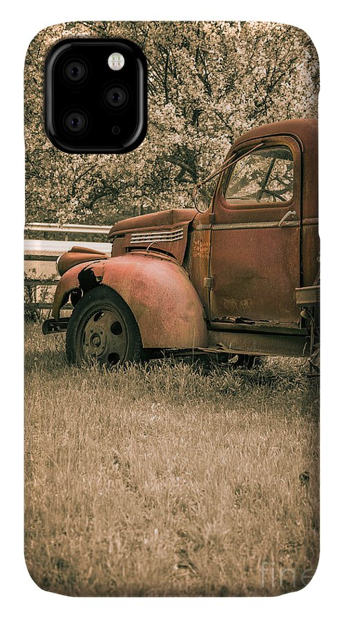 Rusty IPhone Case featuring the photograph Old Red Farm Truck by Edward Fielding