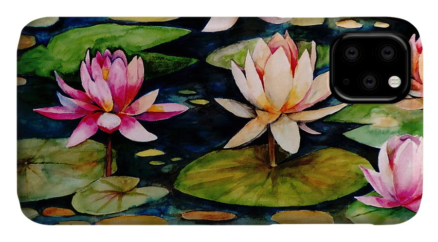 Lily IPhone Case featuring the painting On Lily Pond by Jun Jamosmos