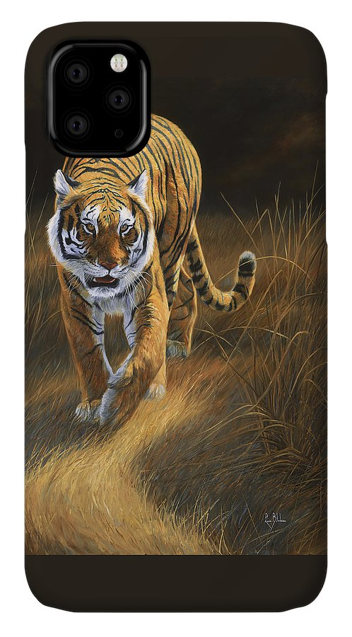 Tiger IPhone Case featuring the painting On The Move by Lucie Bilodeau