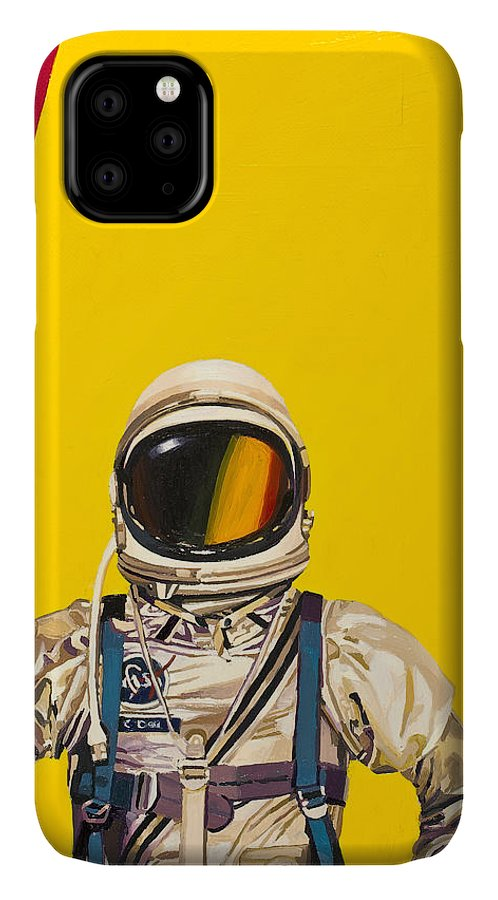 Astronaut IPhone 11 Case featuring the painting One Golden Arch by Scott Listfield