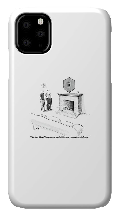 One Man Shows Off A Framed Crossword IPhone Case