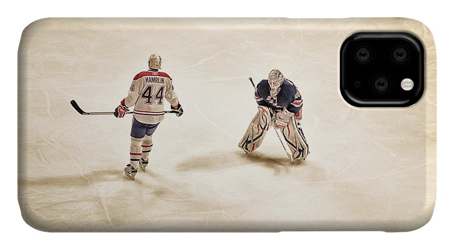 Hockey IPhone 11 Case featuring the photograph Opponents by Karol Livote