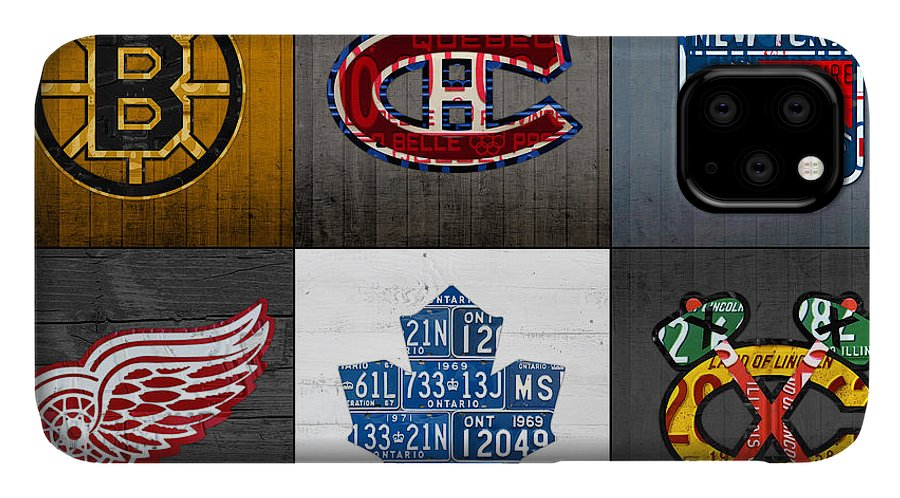 Original Six IPhone 11 Case featuring the mixed media Original Six Hockey Team Retro Logo Vintage Recycled License Plate Art by Design Turnpike