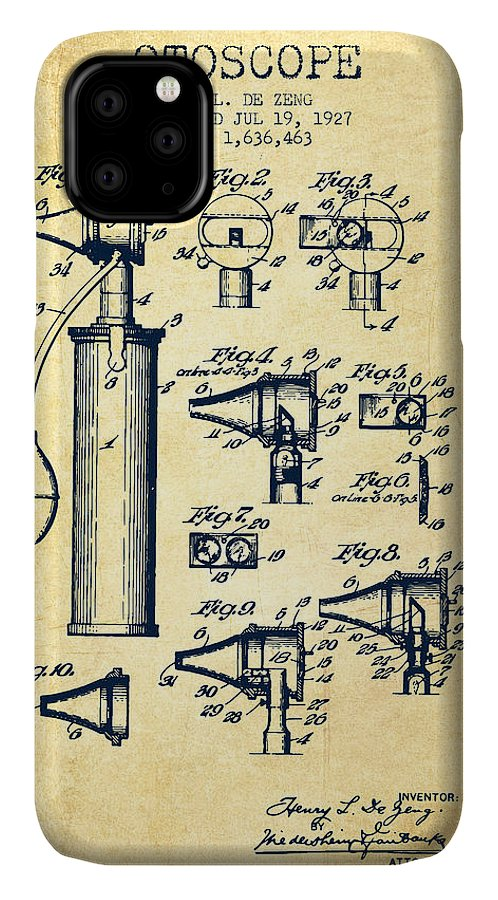 Otoscope IPhone Case featuring the digital art Otoscope Patent From 1927 - Vintage by Aged Pixel