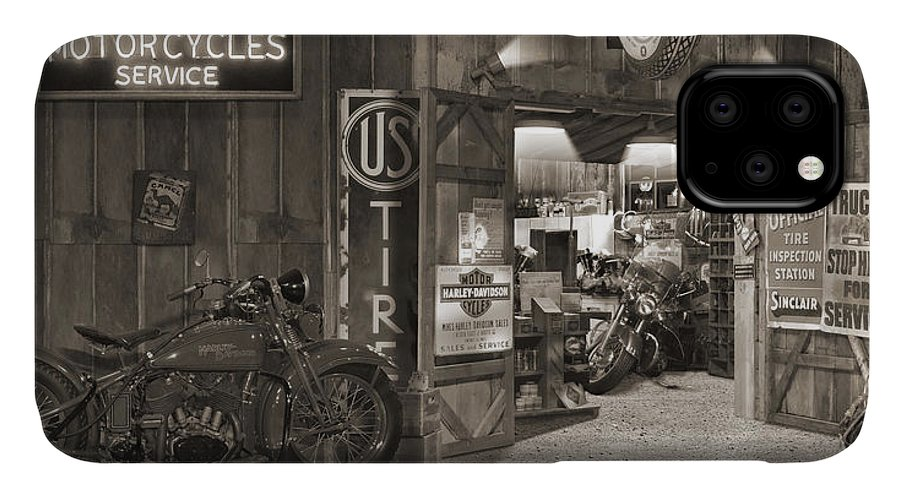 Motorcycle IPhone Case featuring the photograph Outside The Old Motorcycle Shop - Spia by Mike McGlothlen
