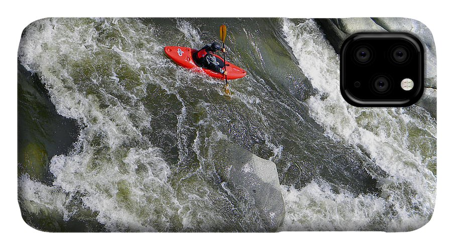 Kayak IPhone Case featuring the photograph Over The Falls by Frank Wilson
