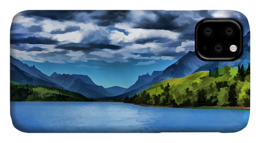 Canvas IPhone 11 Case featuring the painting Painting Of A Lake And Mountains by Ron Harris