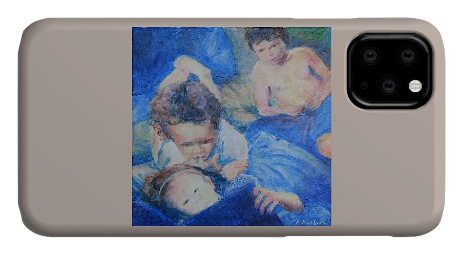 Computer IPhone Case featuring the painting Papo's Putti by Mark Robbins