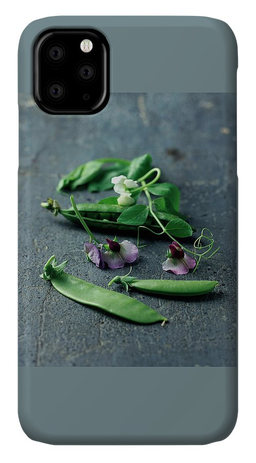 Fruits IPhone 11 Case featuring the photograph Pea Pods And Flowers by Romulo Yanes