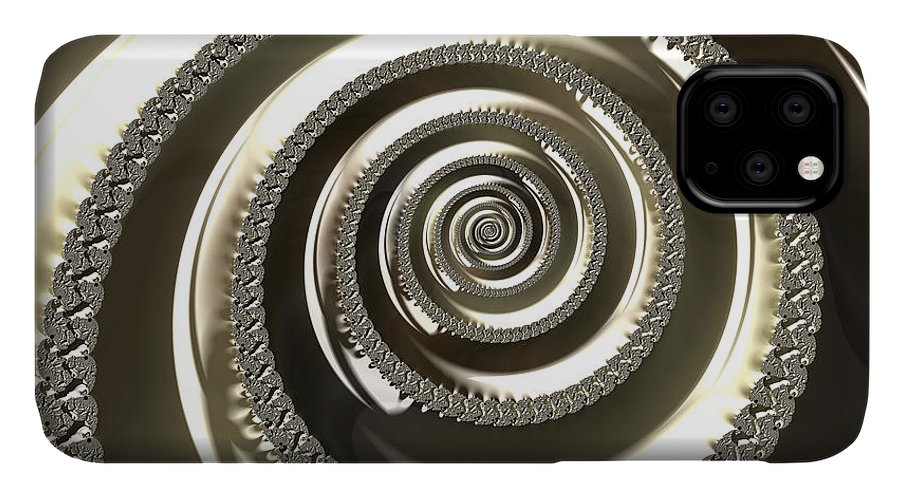 #art #print #fractal #platinum #happijar IPhone 11 Case featuring the digital art Platinum by Vix Edwards