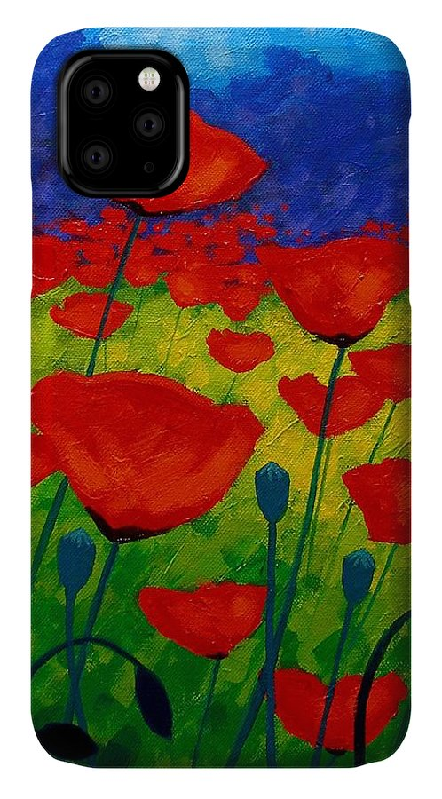 Poppies IPhone Case featuring the painting Poppy Corner II by John Nolan