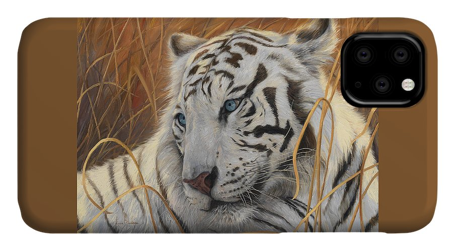 Tiger IPhone Case featuring the painting Portrait White Tiger 1 by Lucie Bilodeau
