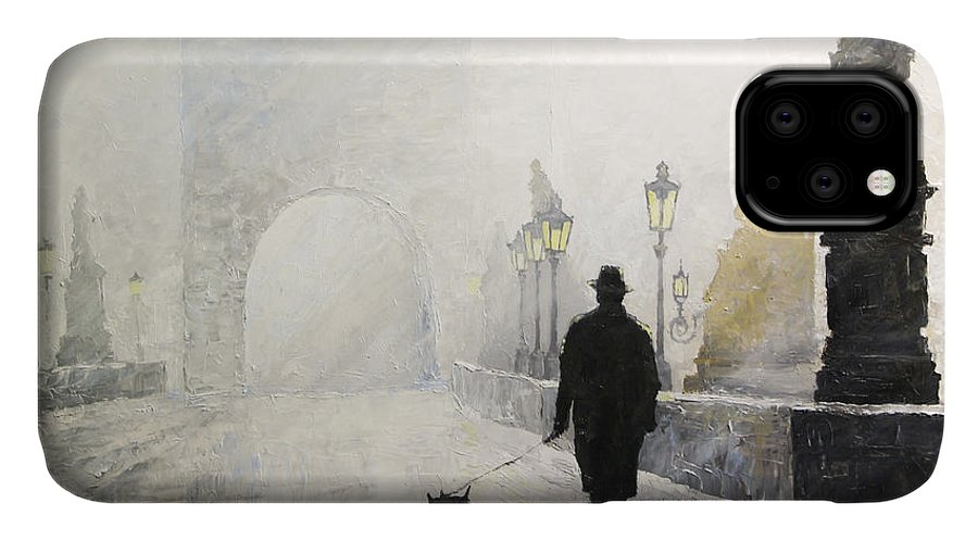 Oil On Canvas IPhone 11 Case featuring the painting Prague Charles Bridge Morning Walk 01 by Yuriy Shevchuk