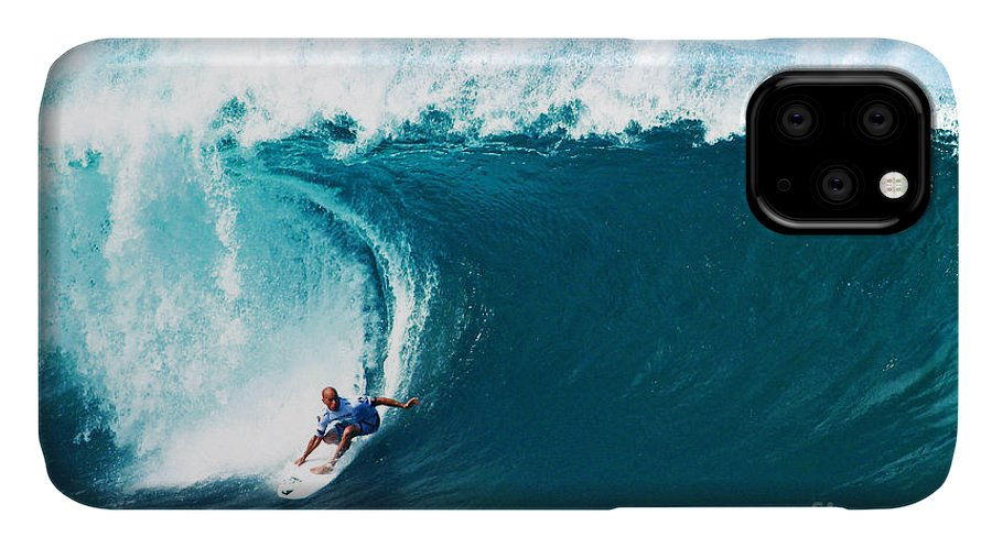 Kelly Slater IPhone 11 Case featuring the photograph Pro Surfer Kelly Slater Surfing In The Pipeline Masters Contest by Paul Topp