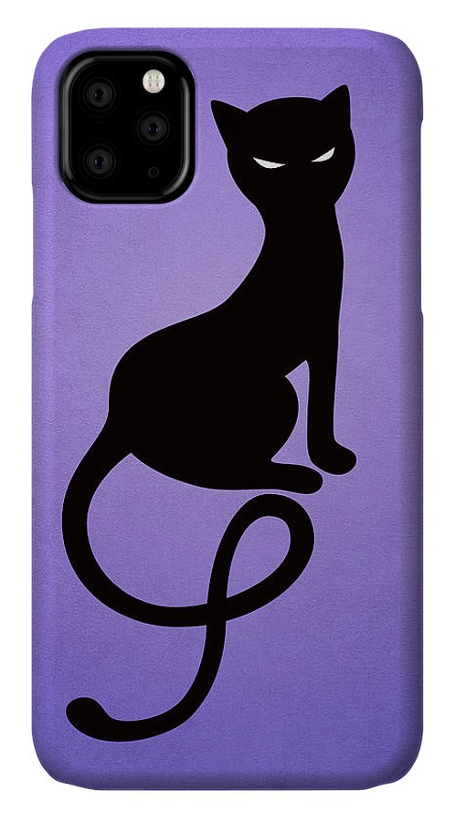 Cats IPhone Case featuring the digital art Purple Gracious Evil Black Cat by Boriana Giormova