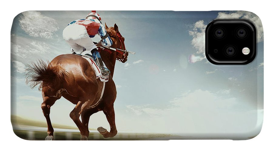 Compete IPhone 11 Case featuring the photograph Racing Horse Coming First To Finish by Olga i