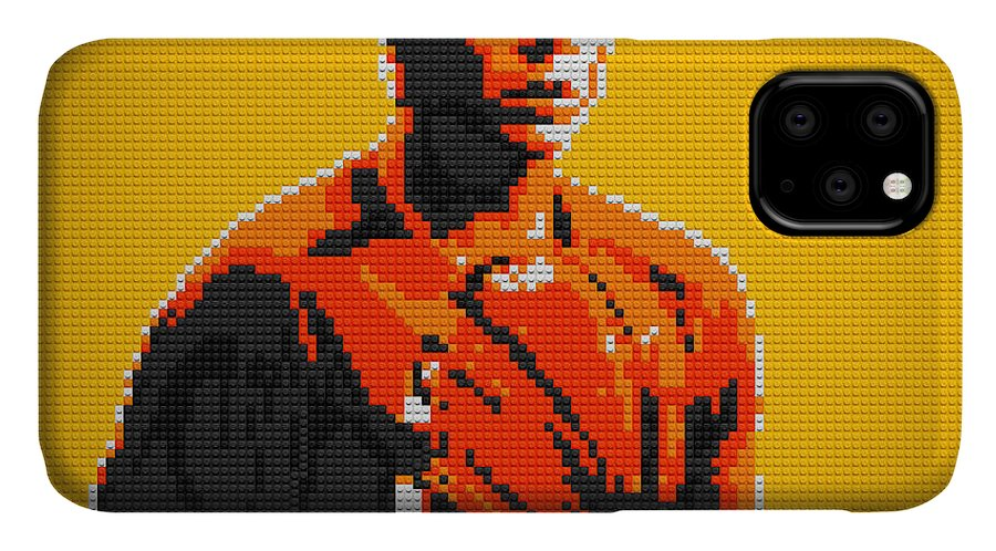 Rafael Nadal IPhone Case featuring the painting Rafael Nadal 2 Lego Digital Painting by Georgeta Blanaru