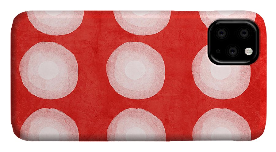 Shibori IPhone Case featuring the painting Red And White Shibori Circles by Linda Woods