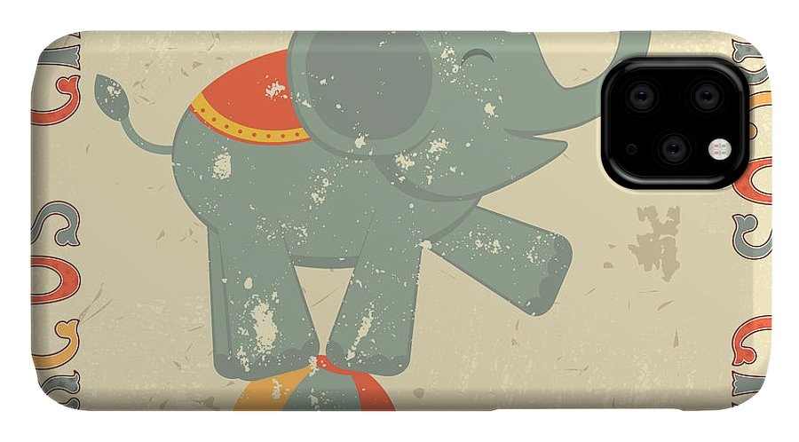 Lettering IPhone Case featuring the digital art Retro Circus Poster With Elephant by Olga draw