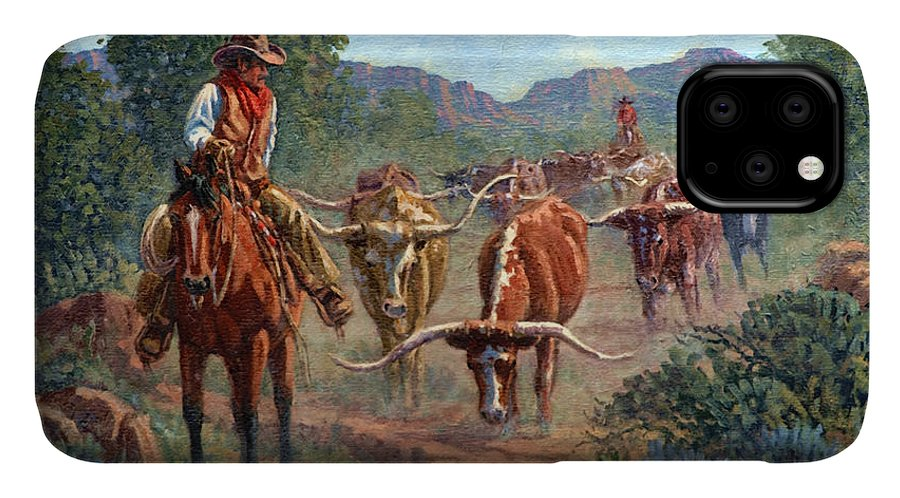 Cowboy IPhone 11 Case featuring the painting Riding Point by Randy Follis