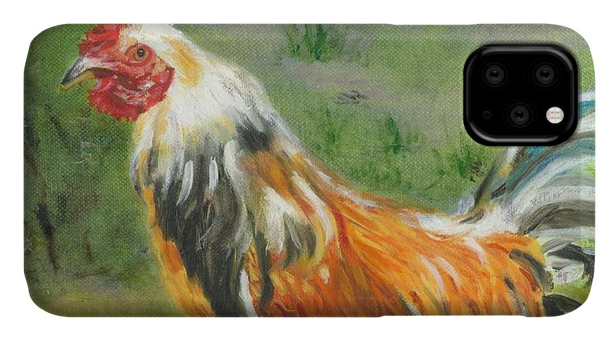 Rooster IPhone Case featuring the painting Rooster Rules by Paula Emery