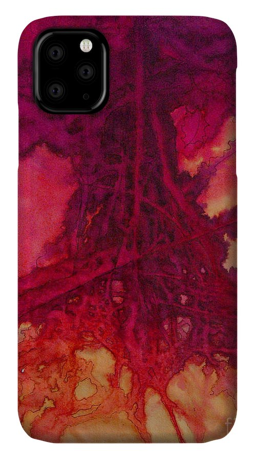 Silk Painting IPhone Case featuring the painting Roots of Passon by Francine Dufour Jones