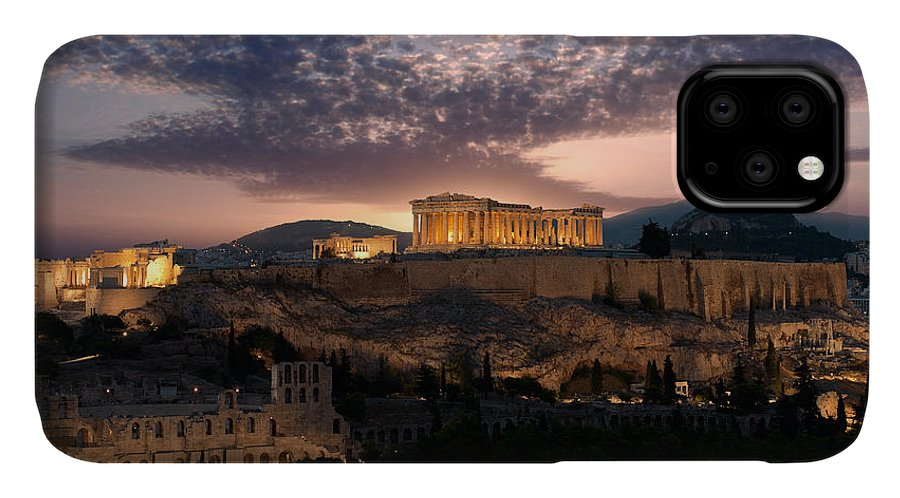 Photography IPhone Case featuring the photograph Ruins Of A Temple, Athens, Attica by Panoramic Images