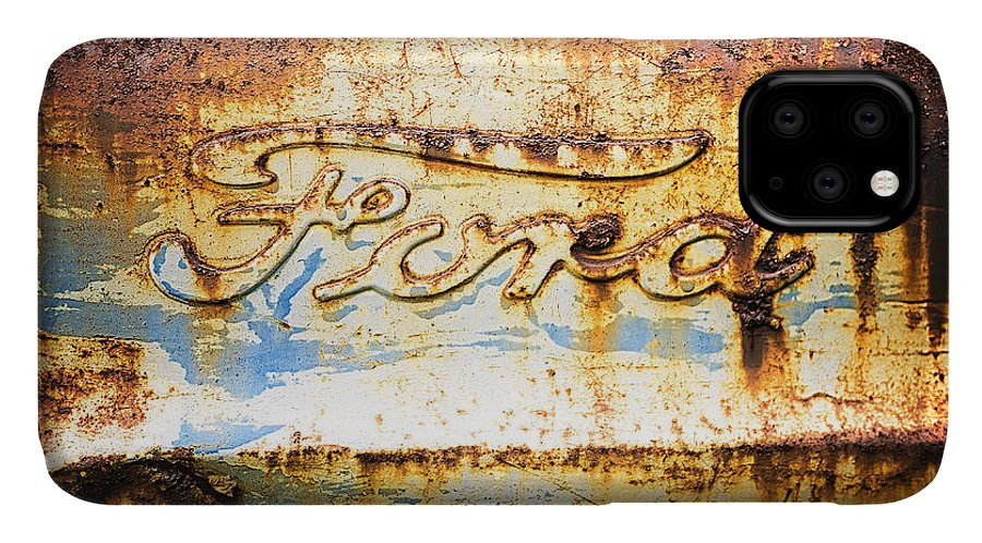 Ford IPhone 11 Case featuring the photograph Rusty Old Ford Closeup by Edward Fielding