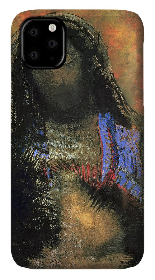 Sacred Heart IPhone Case featuring the painting Sacred Heart by Odilon Redon