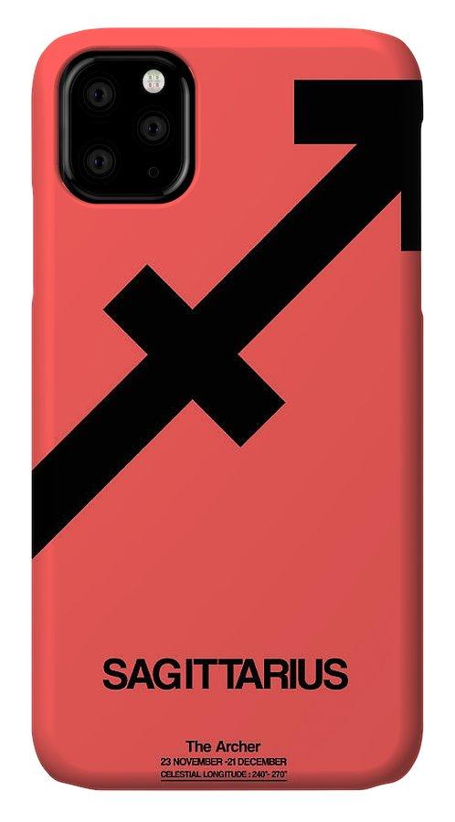 Sagittarius IPhone 11 Case featuring the digital art Sagittarius Zodiac Sign Black by Naxart Studio