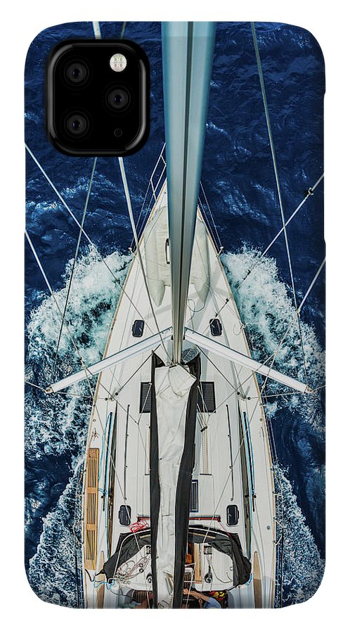 Adriatic Sea IPhone Case featuring the photograph Sailboat From Above by Mbbirdy