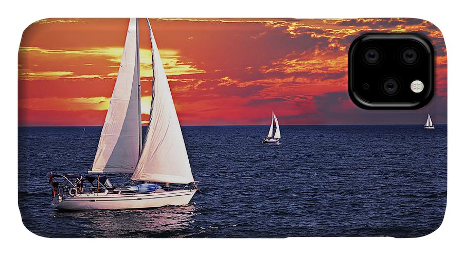 Boat IPhone 11 Case featuring the photograph Sailboats At Sunset by Elena Elisseeva