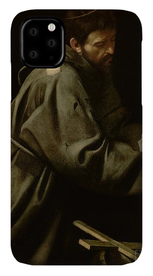 Monk IPhone 11 Case featuring the painting Saint Francis In Meditation by Michelangelo Merisi da Caravaggio