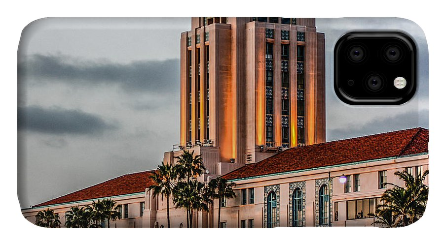 San Diego IPhone Case featuring the digital art San Diego County Administration Center by Photographic Art by Russel Ray Photos